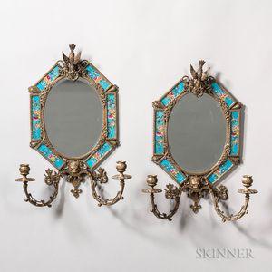 Pair of Porcelain-inset Brass Sconces