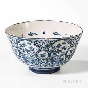 Large English Tin-glazed Earthenware Punch Bowl