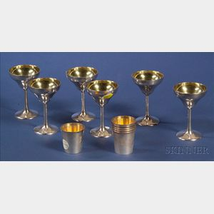 Two Sets of Six Sterling Cocktail Cups