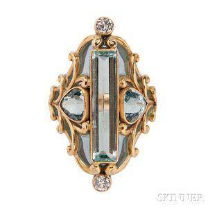 Art Nouveau 18kt Gold, Aquamarine, and Plique-a-Jour Enamel Ring, Marcus & Co.