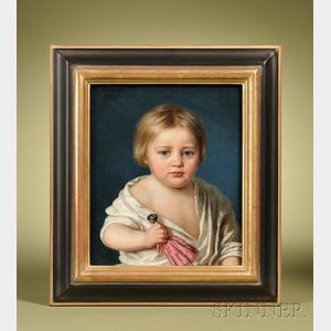 Anglo-American School, 19th Century   Portrait of a Child Holding a Doll