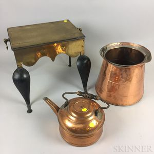 Brass and Iron Footman a Copper Kettle and a Bucket.