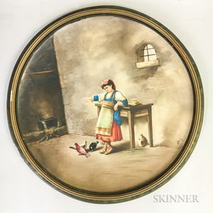 Continental Hand-painted Porcelain Plaque of a Girl Feeding Pigeons