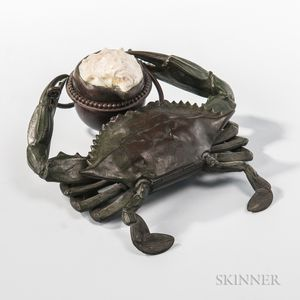 Tiffany Studios Bronze and Oyster Shell Crab-form Inkwell