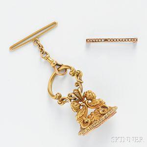 Carter, Howe & Co., Art Nouveau 14kt Gold Watch Fob