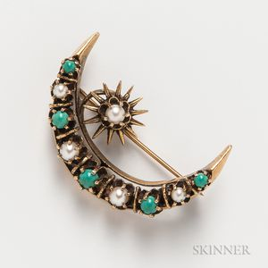 14kt Gold, Turquoise, and Pearl Crescent Brooch