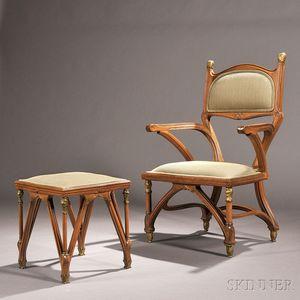 Art Nouveau Armchair and Ottoman