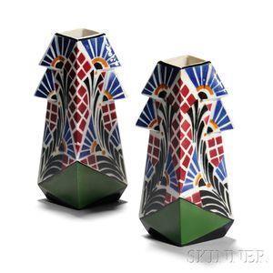 Pair Frie Onnaing Art Deco Vases