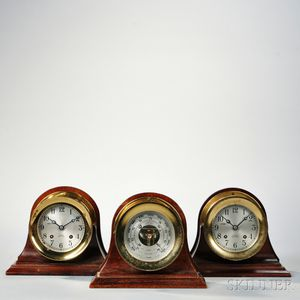 Two Chelsea Ship's Bell Clocks and a Barometer