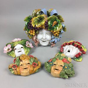 Five Italian Della Robbia-type Face Plaques