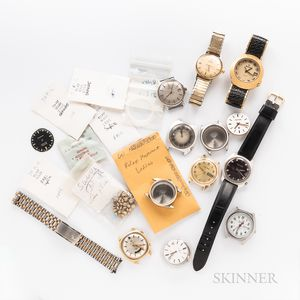 Collection of Rolex, Omega, and Bulova Watch Parts and Wristwatches