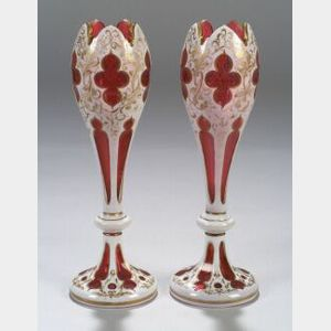 Pair of Cut Double Overlay Glass Vases