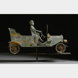Sold for: $941,000 - Gilded Molded Copper Touring Car with Driver Weather Vane