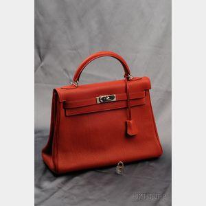 "Rouge Leather ""Kelly"" Handbag, Hermes"