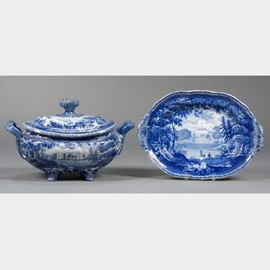 Blue Transfer-decorated Staffordshire Pottery Soup Tureen and an Undertray