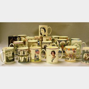 Twenty Modern Wedgwood Commemorative and Collector Mugs.