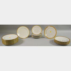Twenty-one Pieces of Gilt-rimmed Porcelain Dinnerware
