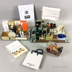 Large Group of Designer Perfume and Cologne Bottles, Bags, and Two Trays