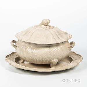 Staffordshire White Salt-glazed Stoneware Tureen and Undertray
