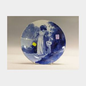Royal Doulton Handpainted Blue and White Scenic Ceramic Plate.