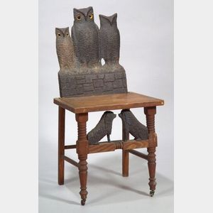 Walnut Carved and Painted Folk Art Chair