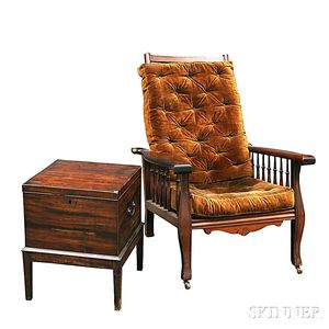 Federal Mahogany Cellarette and a Morris Chair
