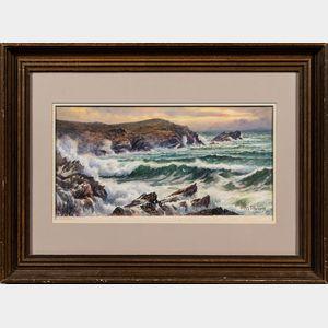 Attributed to William Trost Richards (American, 1833-1905)      Coastal Scene.