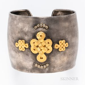 Sterling Silver, Gold-plated, and Diamond Cuff