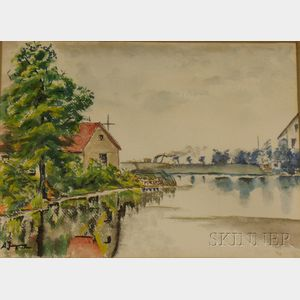 Framed Watercolor on Paper/Board River View, Wolfs Point      Boathouse  , by Albert Jacquez (American, 1895-1962)