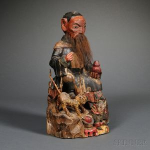 Polychrome Wood Statue of an Official