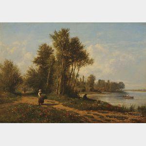 Emile Charles Lambinet (French, 1815-1877)      Site de Bougival (Mai et ses fleurs)