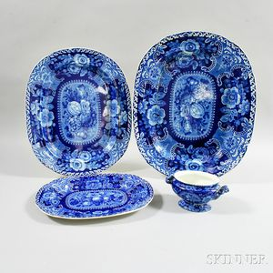 Four Stubbs Blue and White Transfer-decorated Items