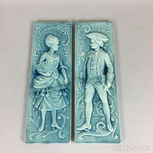 Pair of American Encaustic Figural Tiles