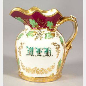Polychrome and Gilt Porcelain Presentation Pitcher