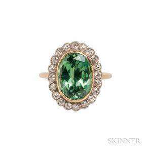 Antique Demantoid Garnet and Diamond Ring