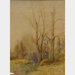 Framed Watercolor with Whiting on Paper/Board Woodland View with a Stream      by Charles E. Clapp