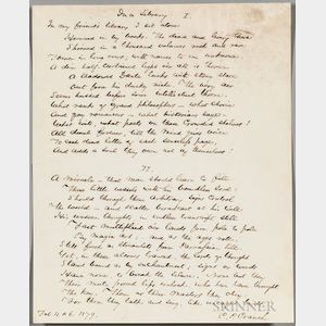 """Cranch, Christopher Pearse (1813-1892), Original Manuscript of the Poem, """"In a Library,"""" February 4 & 6, 1879."""