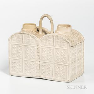 Staffordshire White Salt-glazed Stoneware Double Tea Caddy