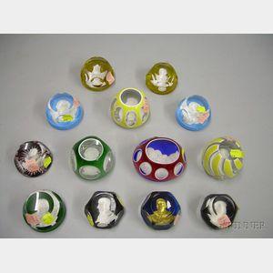 Thirteen Sulfide Art Glass Paperweights