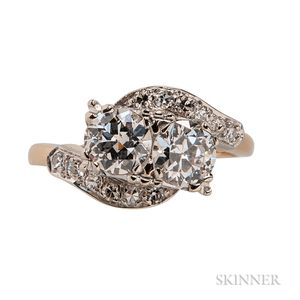 14kt Gold and Diamond Bypass Ring