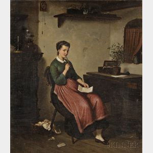 European School, 19th Century      Seated Woman in Interior (Pondering the Letter).