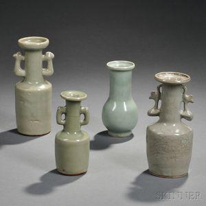 Four Longquan Celadon Vases