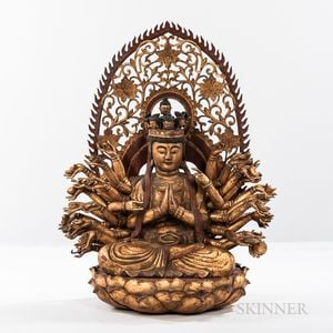 Gold-lacquered Wood Statue of the Thousand-armed Avalokitesvara