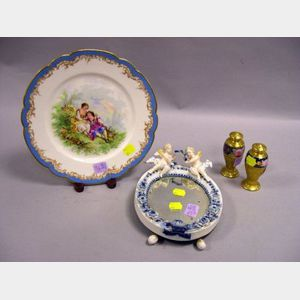 Sevres Transfer Decorated Porcelain Cabinet Plate, a Pair of Pickard Gilt and Floral Decorated Casters, and a Dresden-type Porcelain Cu