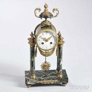 French Brass and Marble Portico Mantel Clock