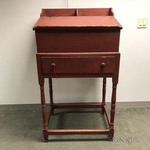 Red-painted Schoolmaster's Desk