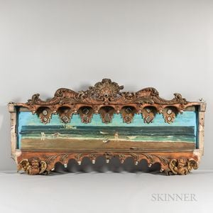 Two Large Painted and Carved Wood Carousel Panels with Beach Scenes