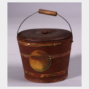 Miniature Red Painted Covered Wooden Bucket