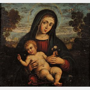 Italian School, 15th Century Style      Madonna and Child in a Landscape