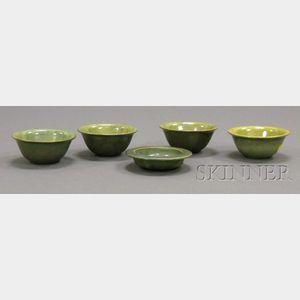 Five Fulper Pottery Bowls